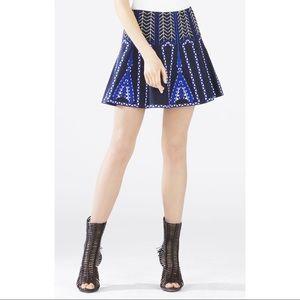 BCBGMaxazria Blue Aztec Embroidered Bronwyn Skirt